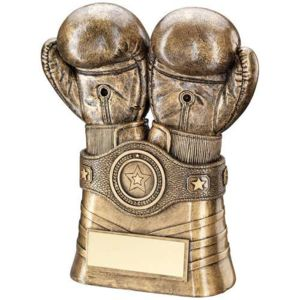 BRZ/GOLD BOXING GLOVES AND BELT TROPHY - (1in CENTRE) 8in Thumbnail