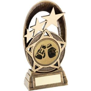 BRZ/GOLD GENERIC TRI-STAR OVAL WITH BOXING INSERT TROPHY - 6.5in Thumbnail