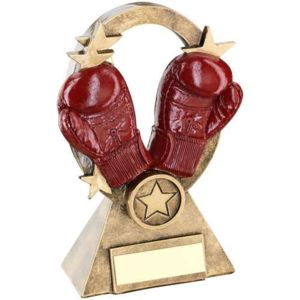 BRZ/GOLD/RED BOXING OVAL/STARS SERIES TROPHY - (1in CENTRE) 6.25in Thumbnail