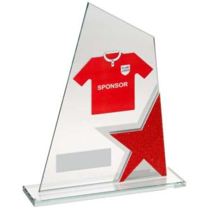GLASS PLAQUE WITH FOOTBALL SHIRT TROPHY Thumbnail
