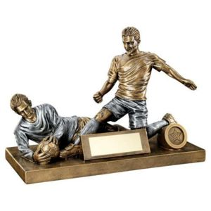 BRZ/PEW MALE FOOTBALL FIGURE AND GOALKEEPER TROPHY (1in CENTRE) - 7.5 x 10.5in Thumbnail