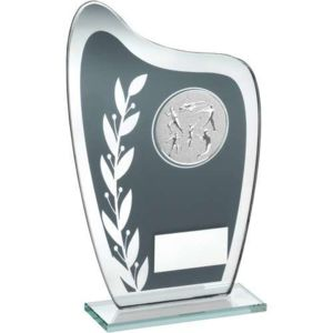 GLASS PLAQUE WITH ATHLETICS INSERT TROPHY Thumbnail