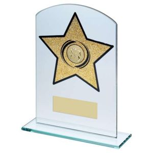 GLASS ARCHED RECTANGLE WITH ATHLETICS INSERT TROPHY Thumbnail