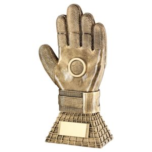 Football Goalkeeper Glove On Net Base Trophy  - 10In Thumbnail