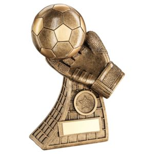 Football And Goalkeeper Glove On Net Base Trophy  - 7.25In Thumbnail